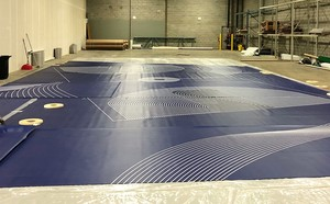 Blue and white abstract circular art flooring